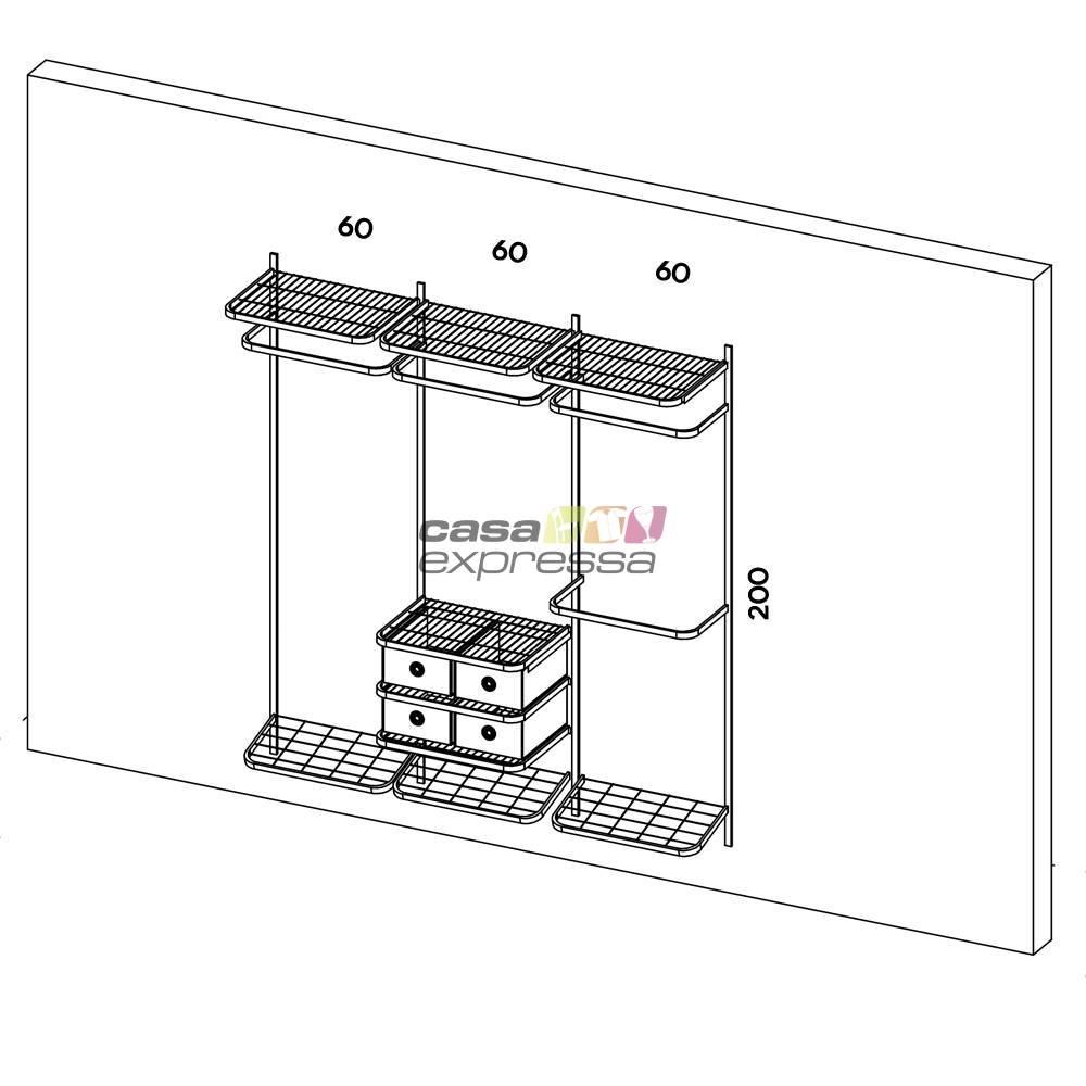 Closet Aramado - Linear CLR282 - 1,90m - CASA EXPRESSA