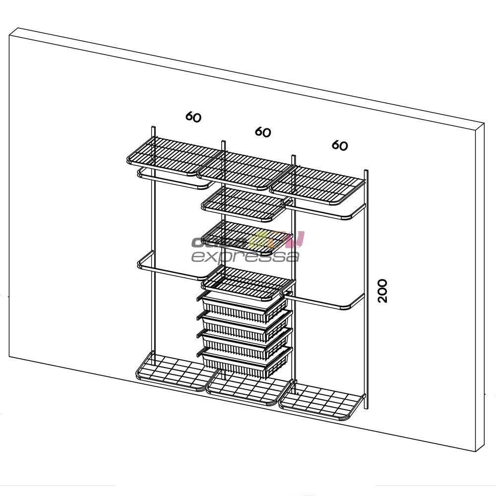 Closet Aramado - Linear CLR250 - 1,90m - CASA EXPRESSA