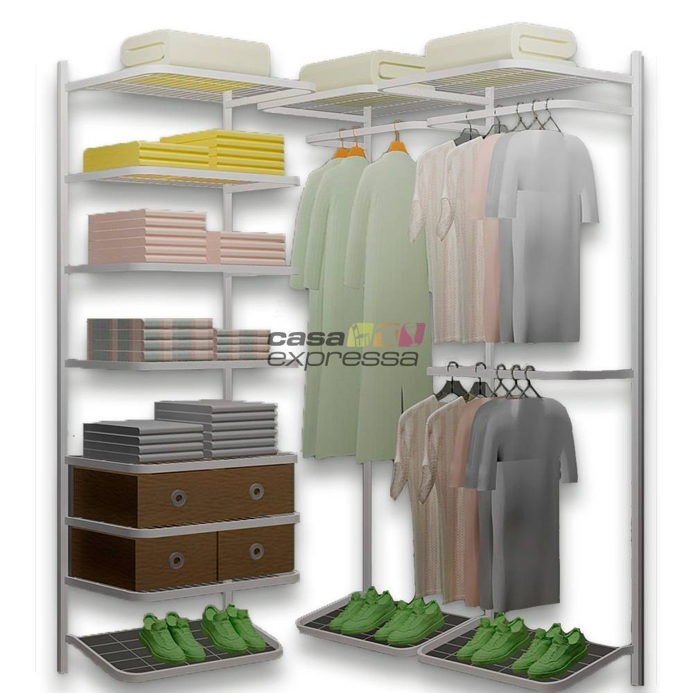 Closet Aramado em L  CLB01 - 1,30 x 1,30m - CASA EXPRESSA