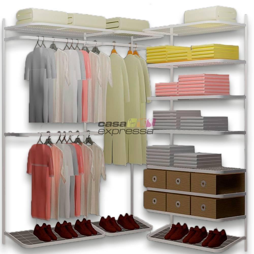 Closet Aramado em L  CLB02 - 1,60 x 1,60m - CASA EXPRESSA