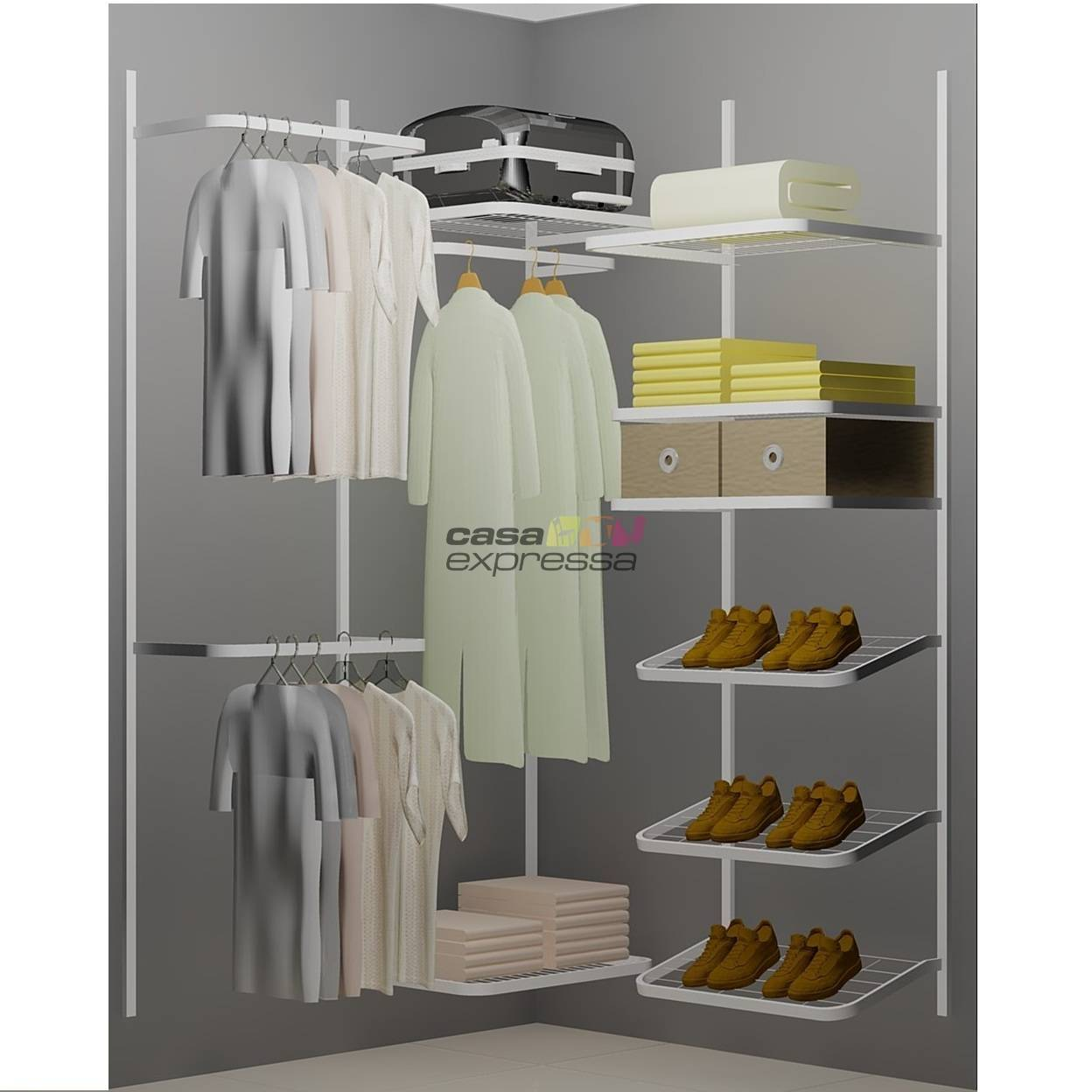 Closet Aramado em L  CLN01 - 1,30 x 1,30m - CASA EXPRESSA