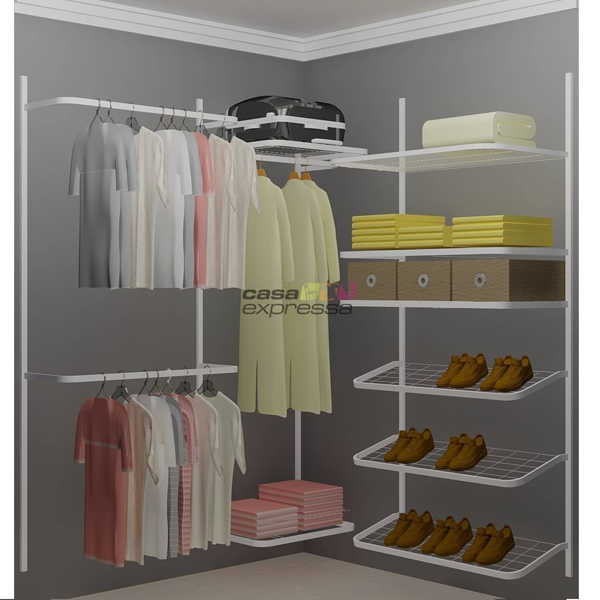 Closet Aramado em L  CLN02 - 1,60 x 1,60m - CASA EXPRESSA