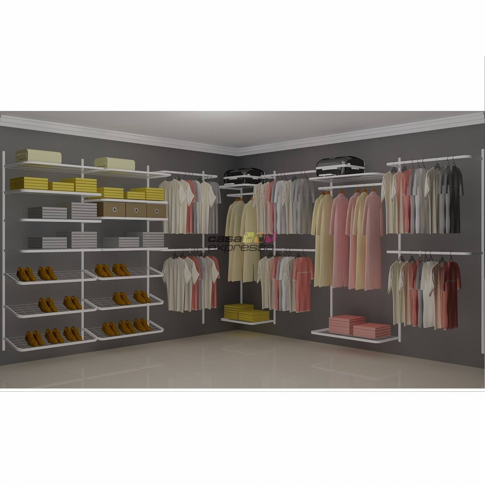 Closet Aramado em L  CLN08 - 3,40 x 3,40m - CASA EXPRESSA