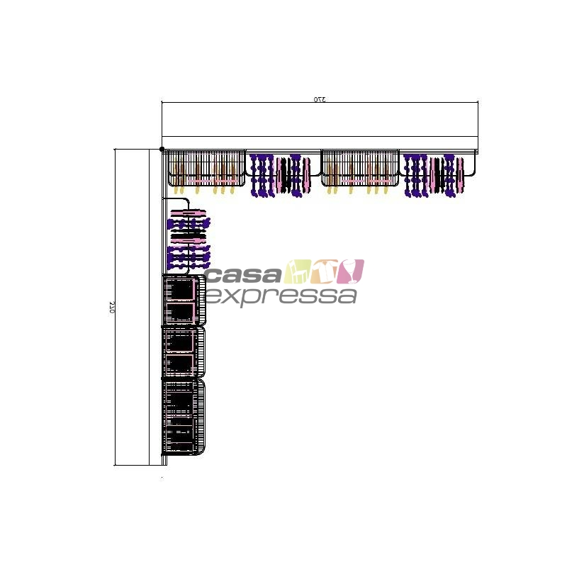 Closet Aramado em L  CLN09 - 3,70 x 3,70m - CASA EXPRESSA