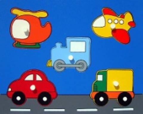 Quebra-Cabeça com Pinos - Meios de Transporte