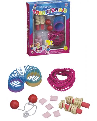 Brinquedos Tradicionais: mola mania, corda de pular, bate bag, elástico e cinco marias