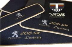 Tapete Automotivo Peugeot 206 SW em Carpet Linha Luxo