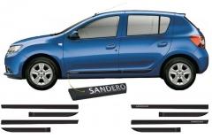 Friso Lateral Renault Sandero 2015 Preto Personalizado 4 Peças