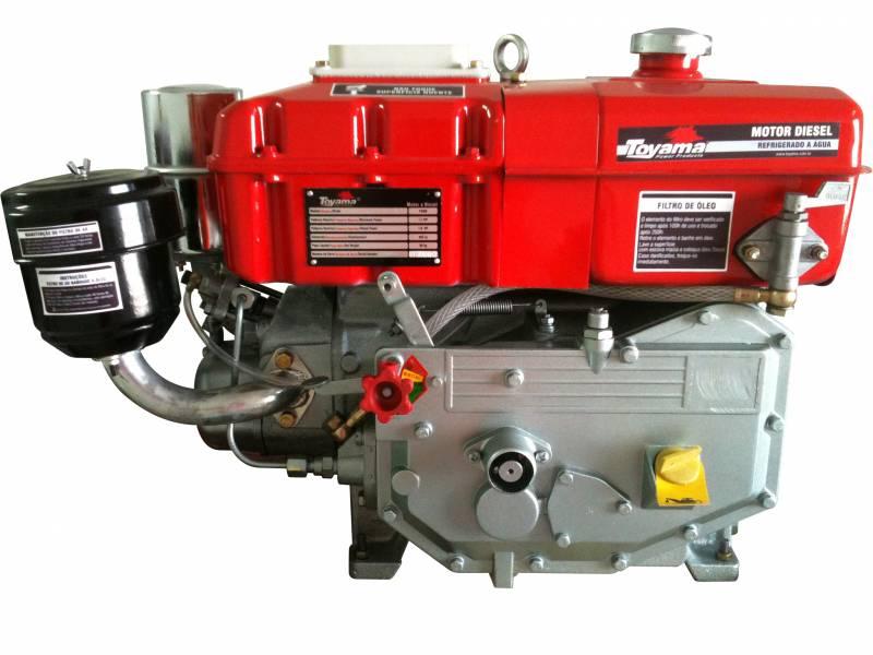 Motor diesel TDW8 TOYAMA 7,7hp 402cc refrigerado água c/sifã - Hs Floresta e Jardim