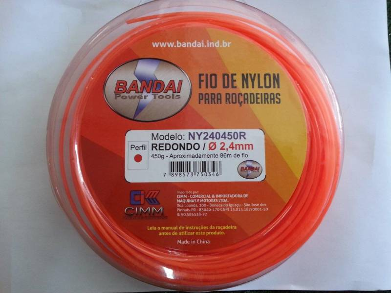 Fio de Nylon 2,4mm REDONDO c/ aprox. 86metros 450gr p/ roçad