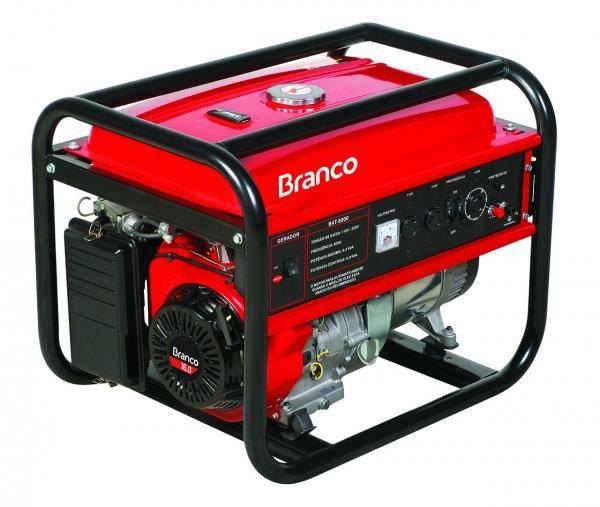 Gerador gasolina BRANCO B4T-8000 6,5 Kva - PARTIDA MANUAL - Hs Floresta e Jardim