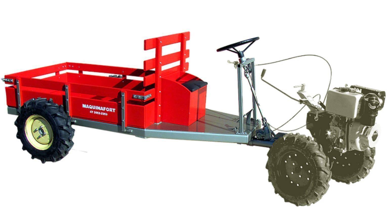 Carreta Fixa Tracionada  600T Com direção para 600kg - Hs Floresta e Jardim