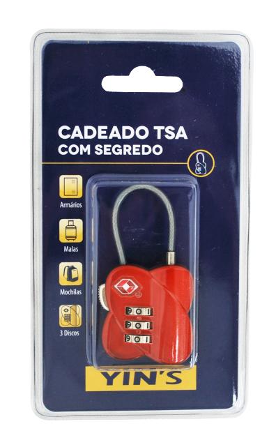CADEADO TSA COM SEGREDO E CABO DE AÇO - YINS - VERMELHO - PRIMEIRA CLASSE MALAS