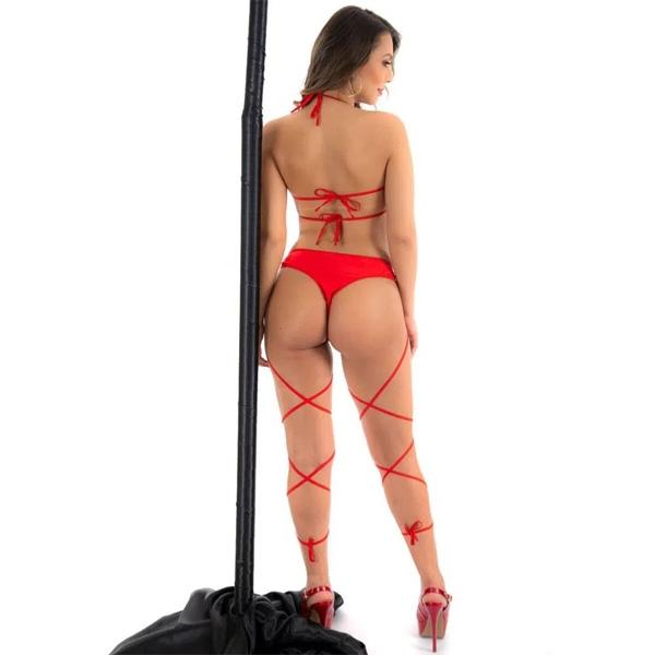 Fantasia Dançarina de Poledance Vermelha Pimenta Sexy - SEX SHOP CURITIBA