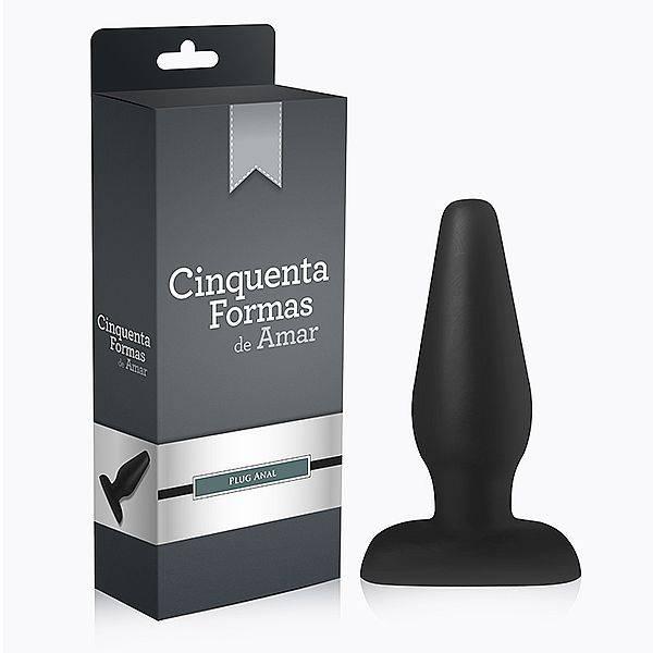 Plug Anal Macio 15 X 1,5~4,5 cm Cor Preto - Cinquenta Formas de Amar - SEX SHOP CURITIBA