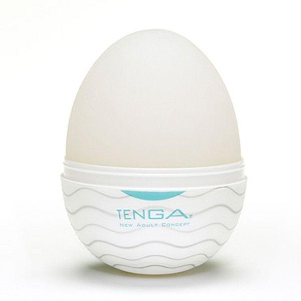Tenga Egg Curitiba Wavy com textura ondulada com lubrificante - SEX SHOP CURITIBA