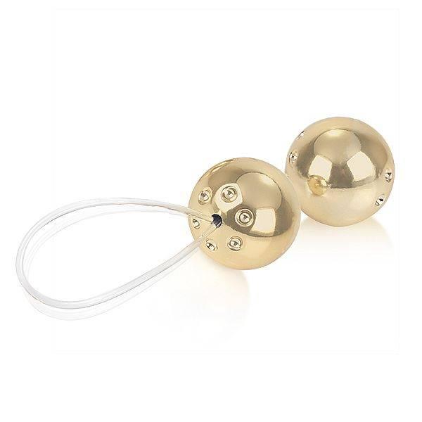 Conjunto com 2 Bolas Pompoar Douradas - SEX SHOP CURITIBA