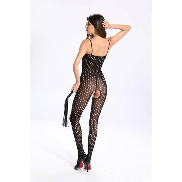 Macacão Arrastão Bolinhas Abertura Íntima - Bodystocking  - SEX SHOP CURITIBA