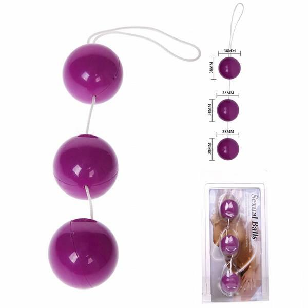 Ben-Wa Com 3 Bolas de Pompoar Para Pompoarismo Exercícios Vaginais COR ROXA - SEX SHOP CURITIBA