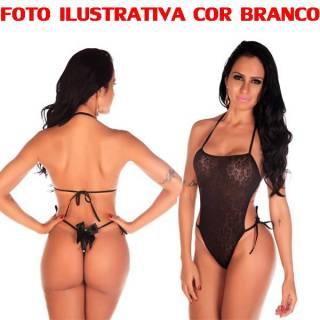 Body Em Renda Pimenta Sexy COR BRANCO