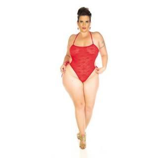 Body Renda Plus Size Pimenta Sexy Vermelho