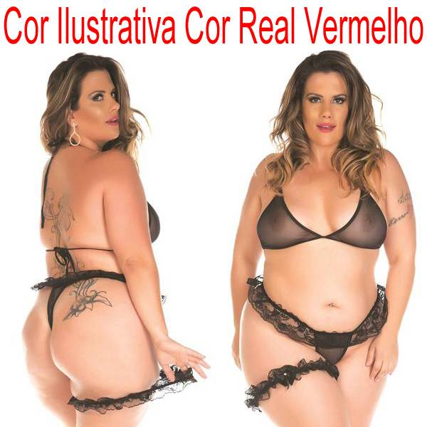 Mini Conjunto Sex Plus Size Com Persex COR VERMELHO - SEX SHOP CURITIBA