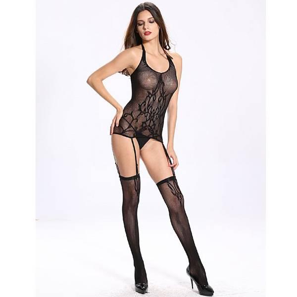 Vestido Arrastão Com Desenho Frontal - Bodystocking - SEX SHOP CURITIBA