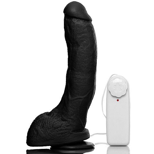 Pênis Bengala com Escroto, Ventosa e Vibro Controle Preto 21 x 5,5 cm - SEX SHOP CURITIBA