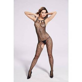 Bodystocking Macacão Rendado Leopardo