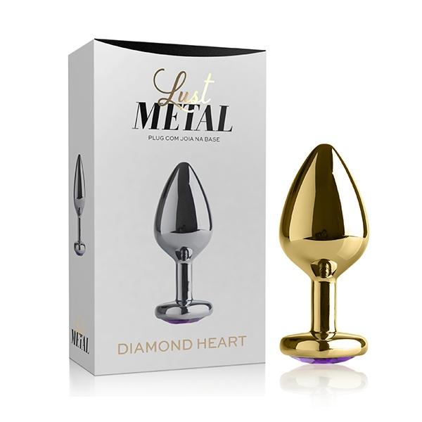 Plug Anal Metal Dourado Com Pedra Coração - SEX SHOP CURITIBA