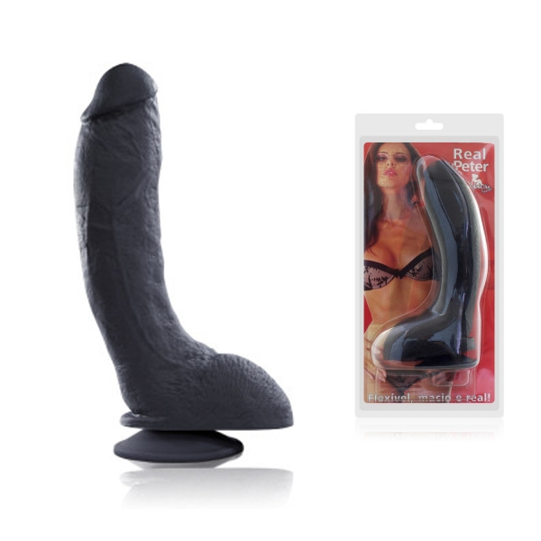 Pênis Negro Rambo Bengala 23x5cm Com Ventosa - SEX SHOP CURITIBA