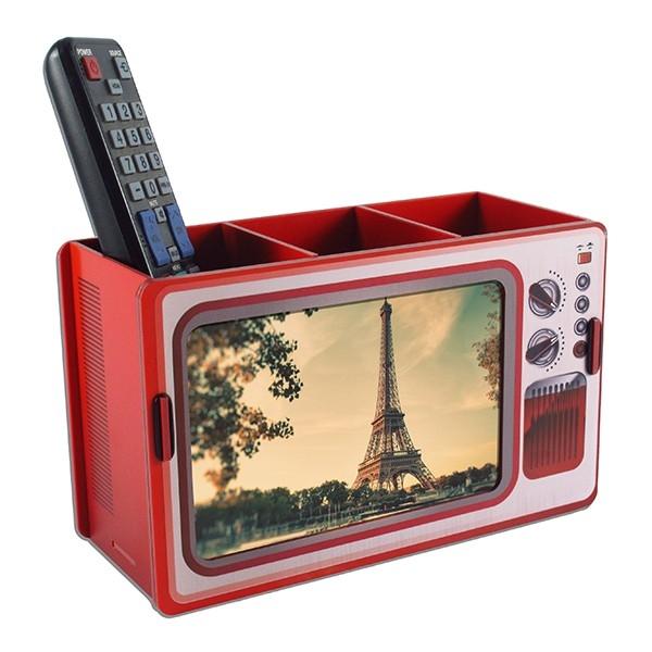 Porta Controle Remoto e Retrato TV Vintage
