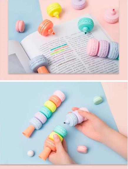 Kit 6 Canetas Marca Texto Macarons Candy Colors - Doutor Design